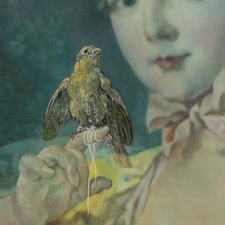 Classical portrait painting of a young girl with bird. Boucher unfocussed with blue tint