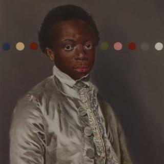 18th Century portrait painting of a black boy with coloured dot intervention