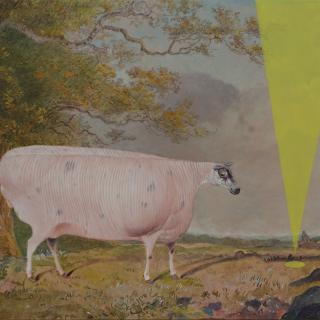 19th century sheep in a landscape with yellow contemporary intervention. Oil painting