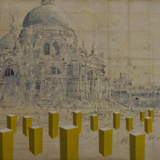 18th Century drawing of Santa Maria by Gaspar Vanvitelli with cube interventions