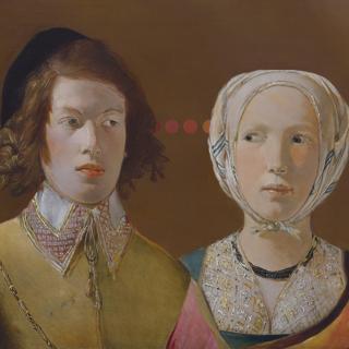 17th century George de la Tour portrait painting with dot interventions
