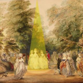 18th Century Gainsborough painting of the Mall in St James's Park with contemporary intervention