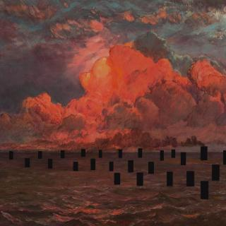 119th Century Frederick Church seascape with black rectangular interventions. Global warming