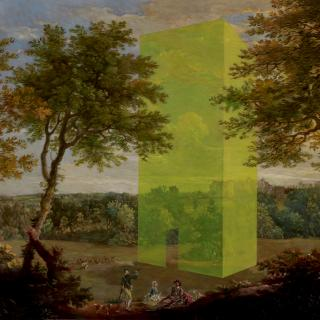 18th Century landscape with figures and a ghostly modern building
