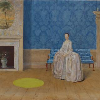 Arthur Devis 18th century oil painting with contemporary yellow circle intervention