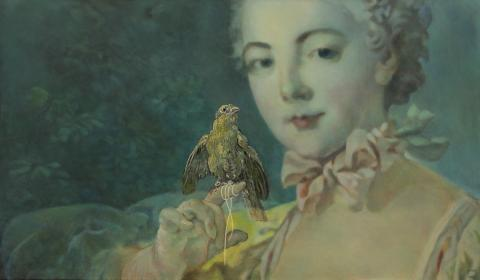Fragonard classical 18th century portrait painting of young woman and bird