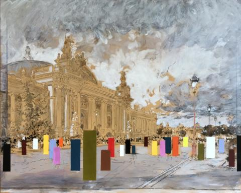 Luigi Loir the Grand Palais Paris oil painting with contemporary coloured rectangles