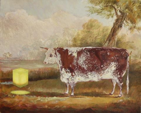 19th century bull in landscape with glowing yellow cube intervention. Oil painting
