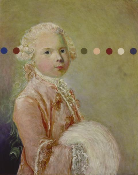 French 18th Century portrait painting of Louis Duke of Burgandy with coloured dot intervention