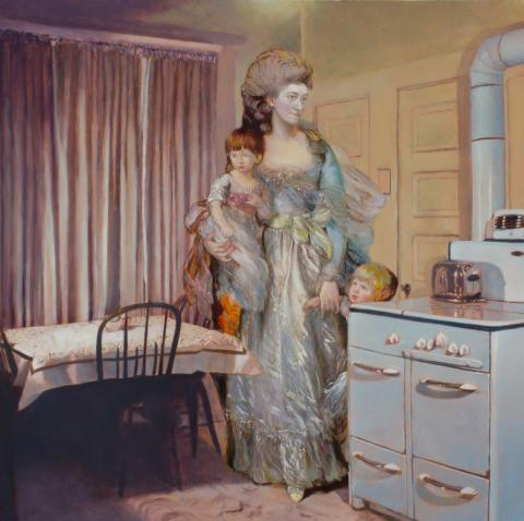 A Gainsborough woman and children in a painted photograph of a 1950's kitchen